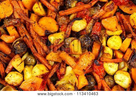 Baked In Oven Mix Of Vegetables. View From Top