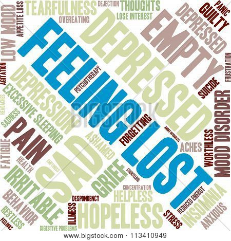 Feeling Lost word cloud on a white background. poster