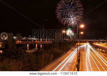Chicago Looking Along Road At Night And River Towards Lake Michigan During Fireworks Display Held Tw