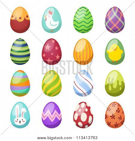 Easter eggs vector flat syle icons isolated on white background. Easter eggs icons vector. Easter eggs isolated, Easter holidays flat design sign. Easter, eggs, holidays greeting. Vector easter eggs
