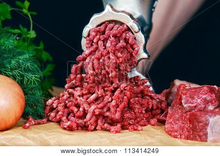 Mincer With Fresh Minced Meat