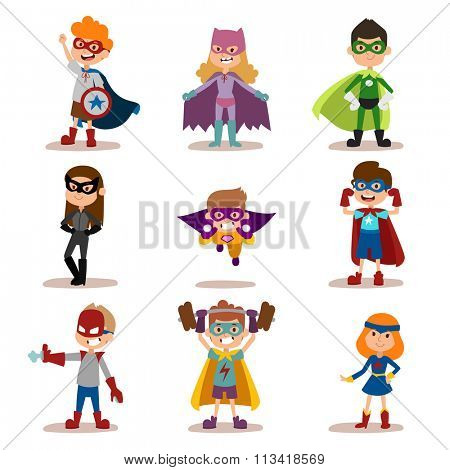 Superhero kids boys and girls cartoon vector illustration. Super children illustration. Super hero kids playing, fly, Super kids in action. Superkids flying, success people concept vector illustration