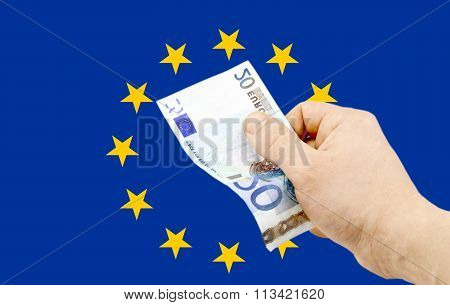 Banknote In Denomination Of 20 Euro In  Hand