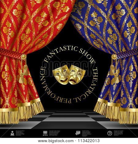 Theatrical template with blue and red vintage ornamental curtains, gold masks on black background and web icons.  Vector illustration