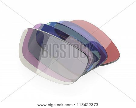 Photochromic and colorful eyeglasses corrective lens on white background poster