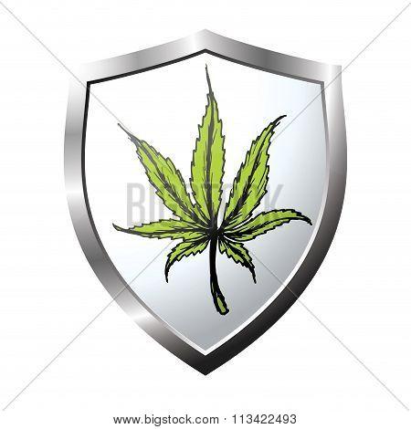 web button or icon with marijuana leaf