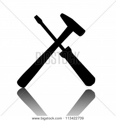 Tool icon. Black vector illustration with reflection. poster