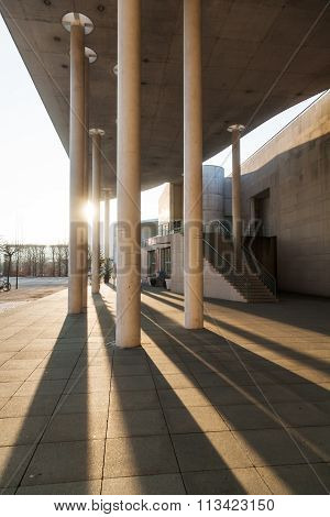 BONN, GERMANY - JANUARY 31: view from the museum of art to the art and exhibition hall of Germany with unidentified people on January 31, 2014 in Bonn. It's one of the ten most visited in Germany.