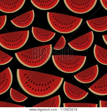 Colorful Sliced Melon Fruits Seamless Dark Pattern Eps10