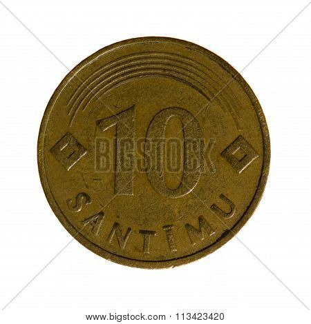 Metal Coins Ten Centimes Latvia Isolated On White Background. Top View