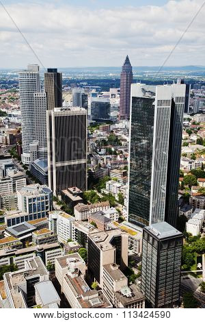 FRANKFURT, GERMANY - JUNE 30: aerial view of Frankfurt with skyscrapers on June 30, 2013 in Frankfurt. Frankfurt is an important international financial centre and the fifth largest city of Germany.
