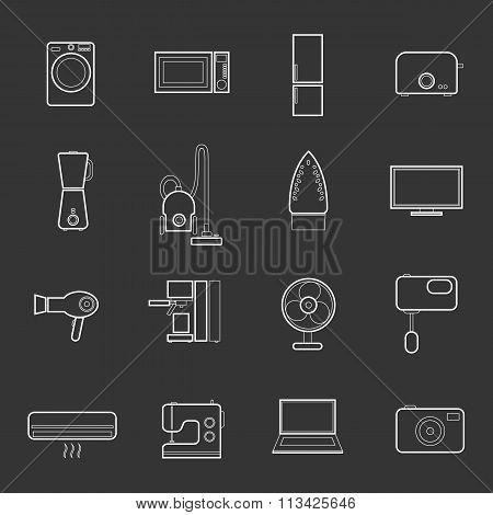 Web icons set of home appliances.