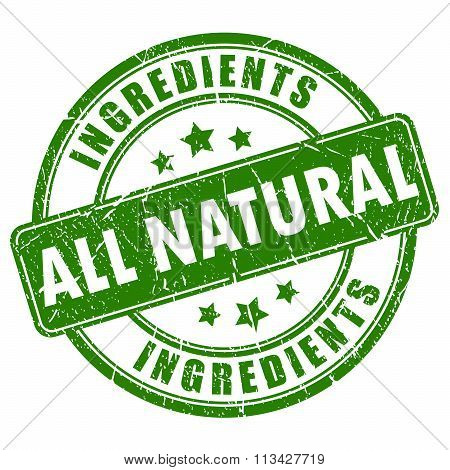 All natural ingredients vector stamp