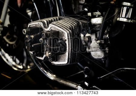 Motorcycle Engine Being Repaired