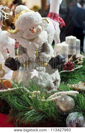 Snowman ceramic figure