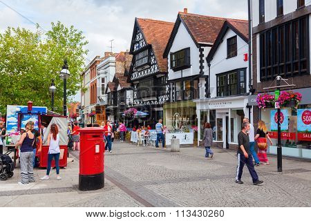 TAUNTON, ENGLAND - JUNE 27, 2015: city scene with unidentified people in Taunton. Taunton is the county town of Somerset and it has over 1,000 years of religious and military history