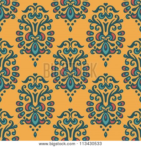 Luxury Damask seamless tiled motif vector pattern