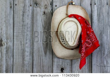 Cowboy hat hanging on wood door