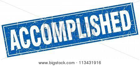 Accomplished Blue Square Grunge Stamp On White