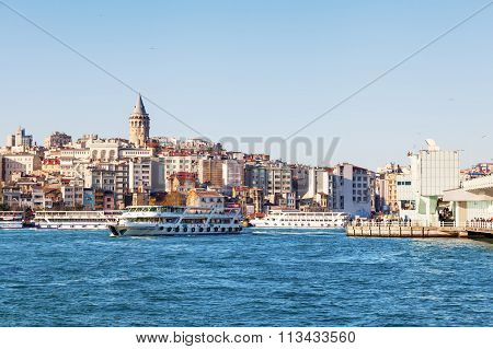 ISTANBUL, TURKEY - APRIL 10, 2015: view over the Golden Horn to the Galata district. Istanbul is the largest city in Turkey and a famous travel destination