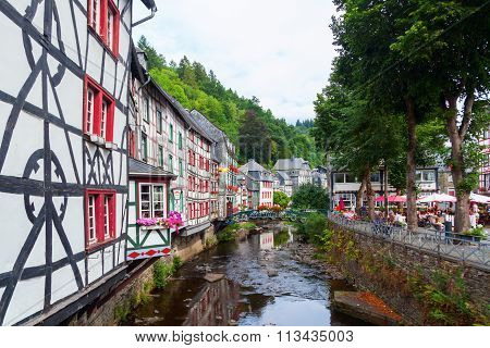MONSCHAU, GERMANY - AUGUST 23, 2015: small town Monschau with unidentified people. The historic town center has many half-timbered houses and narrow streets remained nearly unchanged for 300 years