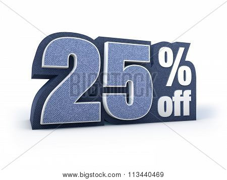 25 Percent Off Denim Styled Discount Price Sign