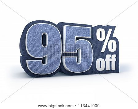 95 Percent Off Denim Styled Discount Price Sign