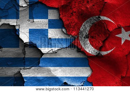 Flags Of Greece And Turkey Painted On Cracked Wall