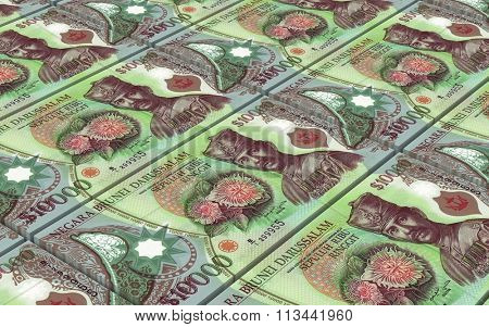 Brunei dollar bills stacks background. Computer generated 3D photo rendering.