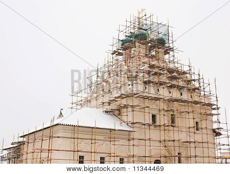 Ancient church in the town of Kolomna during restoration poster