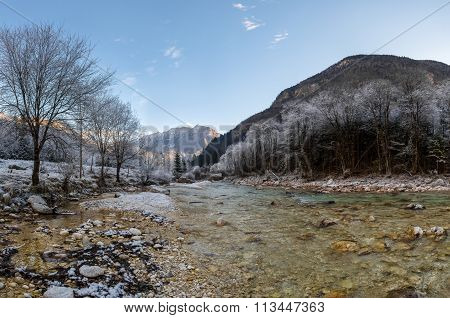 Mountain river in winter.