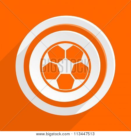soccer orange flat design modern icon for web and mobile app