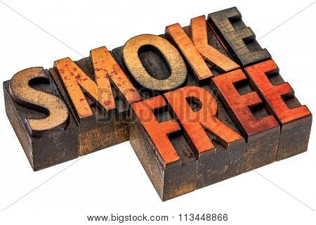 smoke free abstract  - an isolated banner in vintage letterpress wood type stained by color inks
