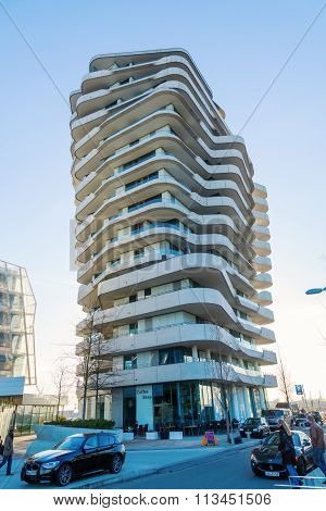 Hamburg, Germany - March, 2014: Marco Polo Tower in Hamburg. It is located in the development area HafenCity and is designed by Behnisch architects.
