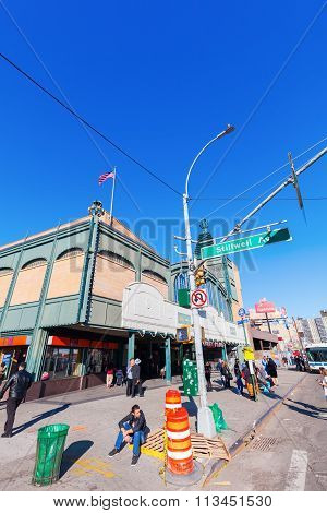 New York City, USA - October11, 2015:street scene in Coney Island with unidentified people. Coney Island is well known as the site of amusement parks and a seaside resort.