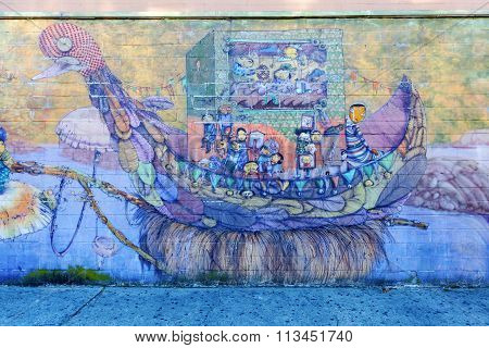 mural art of Os Gemeos in Coney Island, NYC