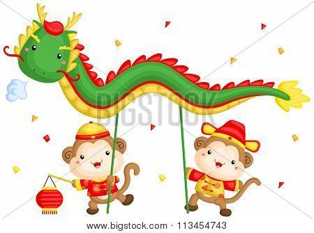 Monkey Doing A Chinese Dragon Dance