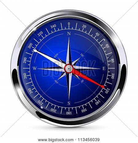 Compass. Blue compass with chrome frame.