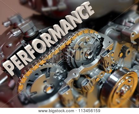 Performance word in 3d letters on a car or automotive engine or motor with great speed, driving or racing ability