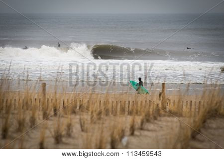 Winter Surf Session At Rockaway Beach Ny