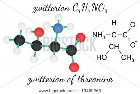 C4H9NO3 zwitterion of threonine amino acid molecule