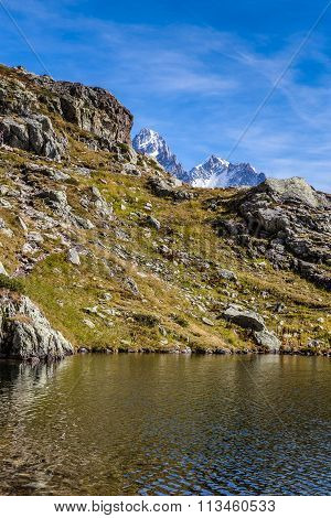 Lac Des Cheserys And And Two Peaks - France