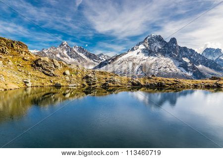Lac Des Cheserys And Mountain Range - France