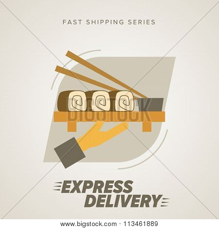 Food express delivery icon. Food delivery. Order service. Symbol of food delivery. Express delivery vector icon. Delivery goods, food shipping service. Express delivery sign. Food delivery sign. Express delivery illustration. Food delivery service icon.