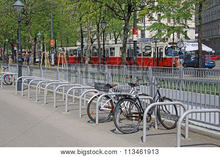 Vienna, Austria - April 25, 2013: City Tram On Wiener Ringstrasse
