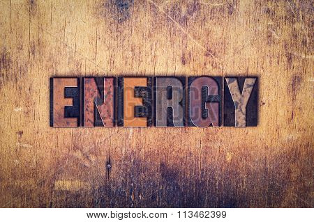 Energy Concept Wooden Letterpress Type