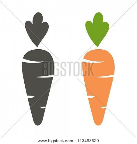 Carrot vector icon cartoon style isolated on white background. Carrot vector illustration. Carrot isolated black and color icons vector silhouette. Carrot, vegetable, food, vector flat style