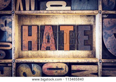 Hate Concept Letterpress Type