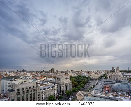 Skyline of Madrid in a cloudy day nr3