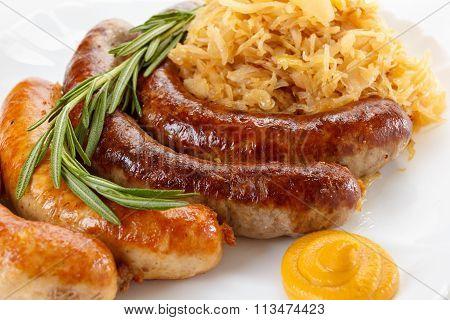 Traditional Oktoberfest Menu, Plate Of Sausages And Sauerkraut